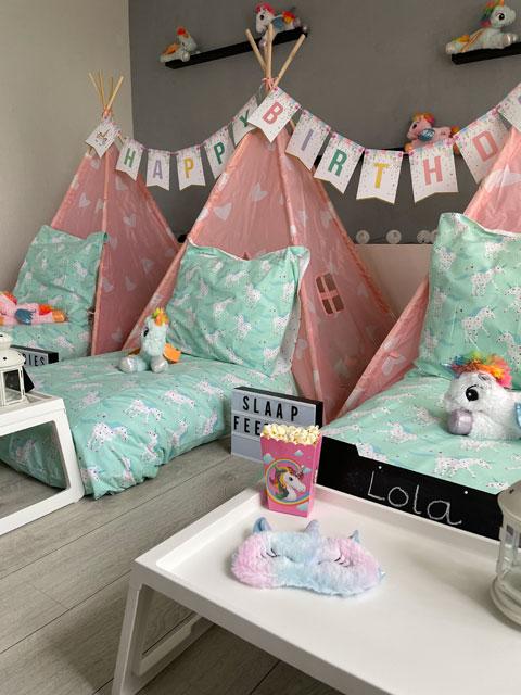 slaapfeestje unicorns